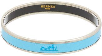 Hermes Palladium-Plated & Blue Enamel Narrow Bangle