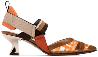 Fendi Brown and Orange PVC Colibri Slingback Heels
