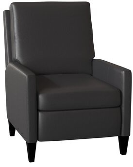 Bradington-Young Castiel Genuine Leather Recliner Body Fabric: Outsider Raven, Leg Color: Casablanca, Cushion Fill: Premier Down, Reclining Type: Push