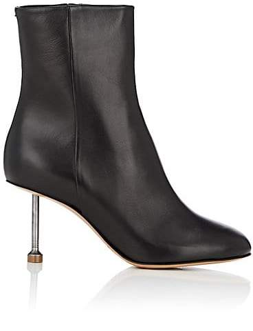 Maison Margiela Women's Metal-Heel Leather Ankle Boots - Black