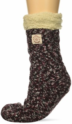 Dearfoams Women's Marled Cable Knit Blizzard Sock Slipper