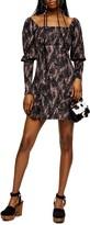 Topshop Spotted Crinkle Long Sleeve Minidres