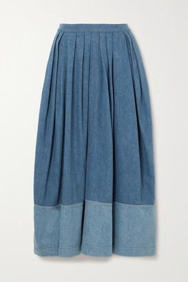 Chloe - Two-tone Pleated Denim Midi Skirt - Blue