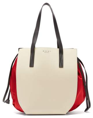 Marni Gusset Leather And Shell Drawstring Tote Bag - Womens - White Multi