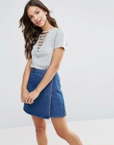 Glamorous Lace Up Front T-Shirt