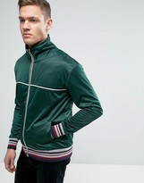 Brave Soul Mens Zip Through Funnel Neck Sweat With Piping Detail
