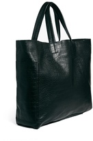 Warehouse Raw Edged Leather Shopper