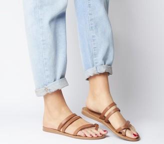 Office Serene- Toe Loop Mule Sandal Tan Leather