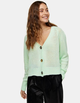 Topshop cropped cardigan in mint