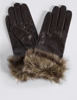 Marks and Spencer Leather Fur Cuff Gloves