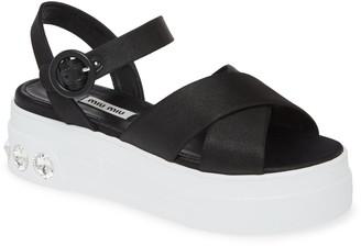 Miu Miu Embellished Platform Sandal