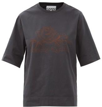Ganni Fantasy Reality Organic-cotton Jersey T-shirt - Dark Grey