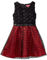 Betsey Johnson Rosette Bodice & Embroidered Organza Bottom Dress (Big Girls)