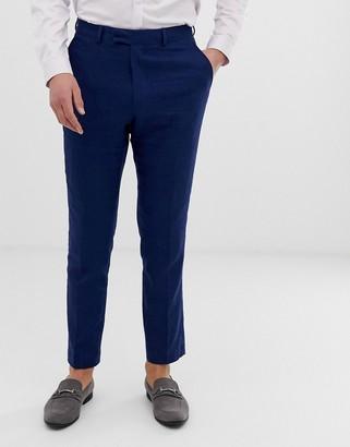 French Connection wedding slim fit plain linen suit trousers-Blue