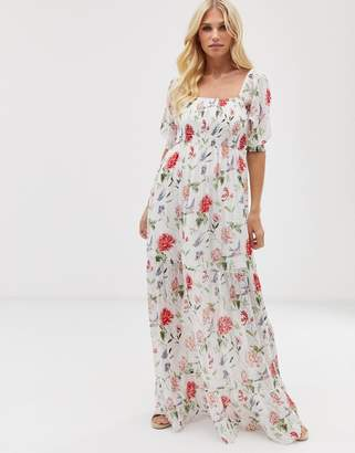 Vila square neck smocked sheer floral maxi dress-Pink