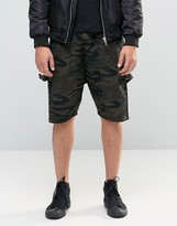 Asos Drop Crotch Shorts with D Rings in Camo