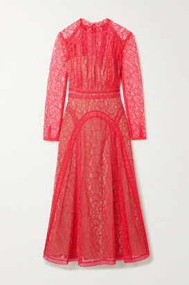 Self-Portrait Crochet-trimmed Paneled Corded Lace Midi Dress - Pink