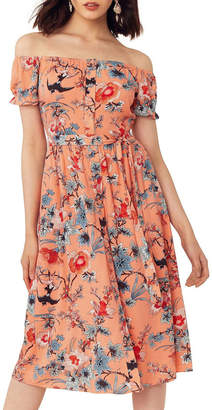 Oasis Mellow Meadow Viscose Bardot Midi
