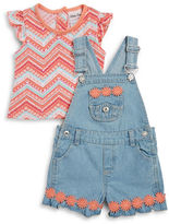 Little Lass Baby Girls Baby Girls Printed Tee and Overalls Set