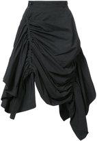 Yohji Yamamoto ruche asymmetric skirt
