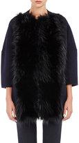 Barneys New York Women's Fur-Front Melton Coat-NAVY