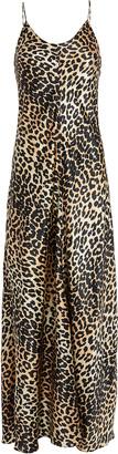 Ganni Leopard Silk Slip Gown
