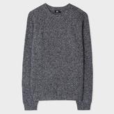 Paul Smith Men's Grey Melange Ribbed Merino Wool Sweater