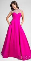 Terani Couture Cap Sleeve High Neck Beaded Illusion Evening Gown