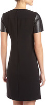 Donna Morgan Faux-Leather-Sleeve Crepe Dress, Black