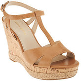 Franco Sarto Leather T-strap Wedges - Swerve