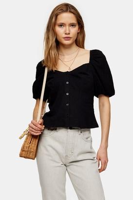 Topshop Womens Black Dobby Button Through Blouse - Black