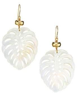 Nest Women's Mother-Of-Pearl & 22K Goldplated Palm Leaf Earrings