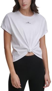DKNY Sport Cotton Logo Knot-Front T-Shirt