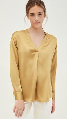 Vince V Neck Popover Silk Shirt