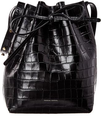 Mansur Gavriel Mini Croc-Embossed Leather Bucket Bag