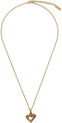 Saint Laurent Gold Heart Charm Necklace