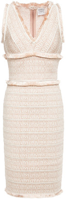 Herve Leger Frayed Jacquard-knit Dress