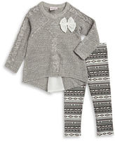 Little Lass Baby Girls Cable-Knit Sweater and Leggings Set