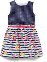 Nannette Little Girls Gold Foil Pleated Mesh Dress