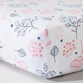 Circo Woven Fitted Crib Sheet - Navy n' Pink Flowers