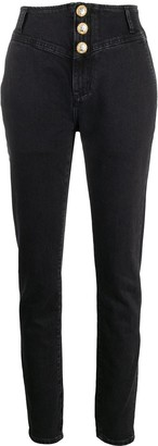 Alessandra Rich Crystal-Button High Rise Jeans
