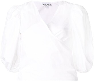 Ganni Short-Sleeve Wrap Blouse