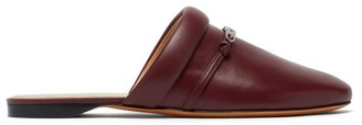 Givenchy Elba Logo-plaque Leather Backless Loafers - Burgundy