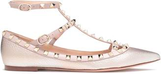 Valentino Garavani Studded Metallic Textured-leather Point-toe Flats