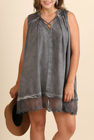 Umgee USA Grey Sleeveless Shift Dress