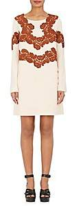 Chloé WOMEN'S LACE-APPLIQUÉD WOOL-BLEND SHIFT DRESS-PINK SIZE 34 FR