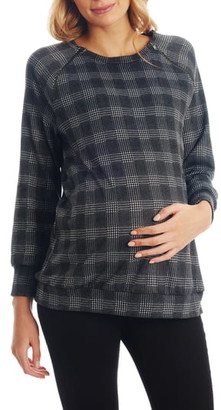Everly Grey Augusta Plaid Maternity/Nursing Pullover
