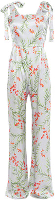 Seren London Fletcher Bow-detailed Floral-print Silk-satin Crepe Jumpsuit