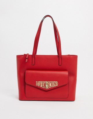 Love Moschino locked in love large tote bag in red