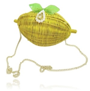 Milanblocks Lemon Straw Clutch with Pearl Clasp